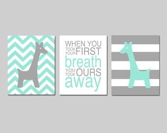 Giraffe Nursery Art Giraffe Nursery Decor Mint Nursery Art Chevron Giraffe Nursery Art Mint Set of 3 When You Took Your First Breath Quote