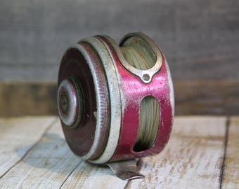 Vintage Fishing Reel- Oren-O-Matic Balanced Reel- Made in USA- Cabin Camp Fishing Decor- Aluminum Silver & Red