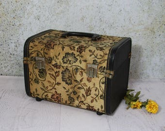 Vintage Tapestry Train Case- Hard Shell Luggage- Studio Storage Display- Cosmetic Case- Vintage Carry Case- Craft Show Display