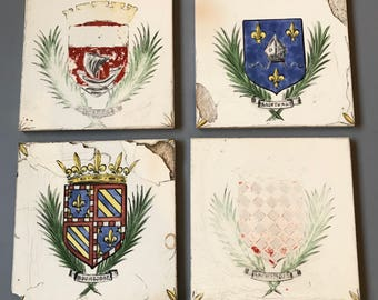 Vintage PORCELAIN TILES- Desvres Made in France- Shield- Crown- Royalty- Hand Painted- Bordeaux- Set of 4- Damaged French Country- C35