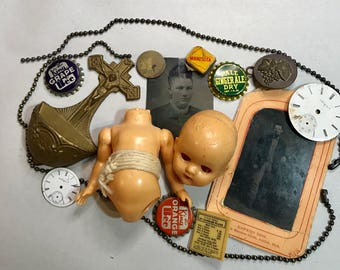 Vintage Assemblage Lot- Doll Parts Porcelain Watch Faces- Tintype- Findings Found Objects- D12