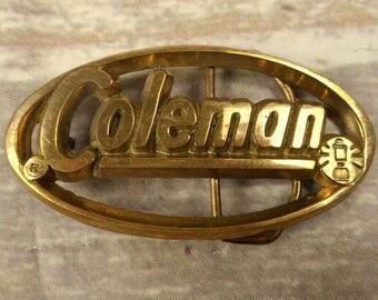 Coleman Lantern Belt Buckle Logo Cut Out Design Vintage Promotional Advertising