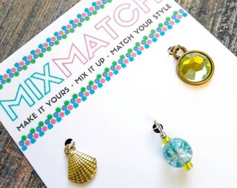 MIX MATCH - Charm Batch 5 - Golden Sea Shell Charm, Aqua Crackled Glass Bead, Peridot Colored Rhinestone Charm With Antique Gold Bezel