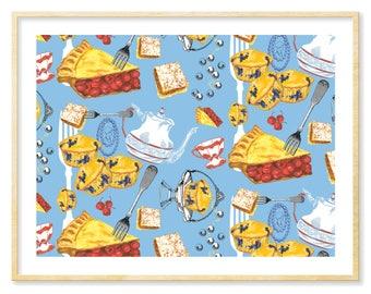 Kitchen Art Print, Cherry Pie, Blue Art, Kitchen Decor, Food Art, Afternoon Tea, High Tea, Nursery Wall Art, Gift for Her, Dessert, 8.5x11