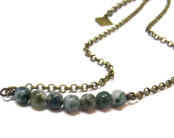 ON SALE Moss Agate Choker Necklace Moss Agate Beaded Abundance Necklace Top Selling Jewelry Layer Necklace Healing Crystals Choker Stone