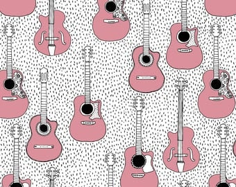 Pink Guitar Fabric - Music Lovers Guitar Hero Musical Instruments Pink Girls By Littlesmilemakers - Pink Guitar Fabric With Spoonflower