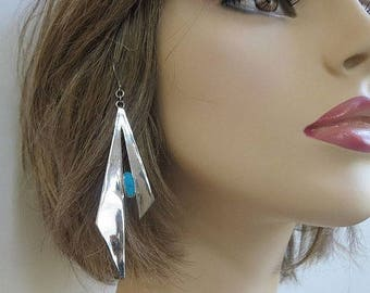 Modernist Sterling Silver & Turquoise Earrings Vintage Long Dangle
