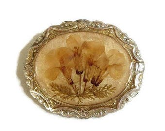SALE Pressed Flowers Brooch Vintage 1940's