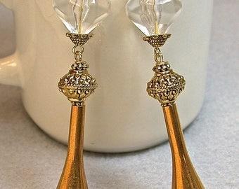 Vintage German Lucite Crystal Bead Dangle Drop Earrings, Vintage Brass Teardrops, Ornate Gold Bead
