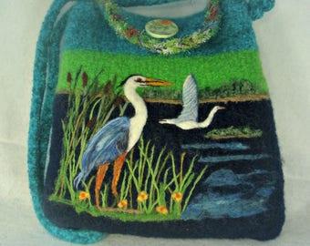 Felted Purse,felted tote,heron art, needle felt heron, handmade purse, feltedfantasies