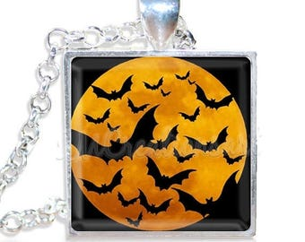 "20% OFF - Halloween Bats Orange Moon 1"" Square Glass Pendant or with Necklace - SQ109"