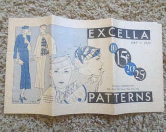 EXCELLA brochure May 1933 /  12 pages / black white and color/ Brochure of current fashion trends Herzbergs Enid OK