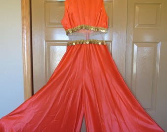 SALE Vtg Orange I Dream of Jeannie Dress / Culotte Dress Coins Bare Midriff / Las Vegas Couture / 1960s couture Loungewear / Vegas showgirl