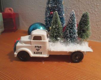 "Vintage Plastic Toy Truck Carrying 3 Sisal Bottle Brush Trees / White Flatbed Truck Loaded for Delivery / 5"" truck / shelf sitter / desk"