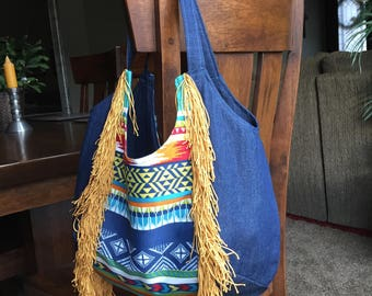 Denim western fringe hobo shoulder bag