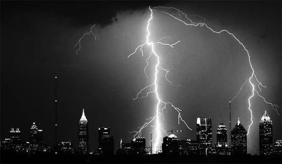 "lightning striking city Digital Image Download printable art weather graphics image landscape cityscape jpg png black and white 4"" x 7"""