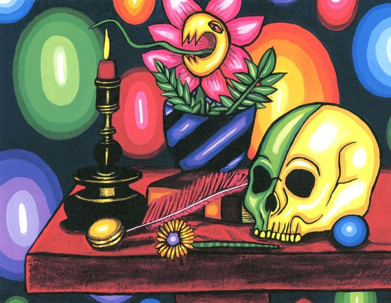 abstract Skull Art Print magic altar witch spells abstract paintings fantasy skeleton art candle venus fly trap still life artwork