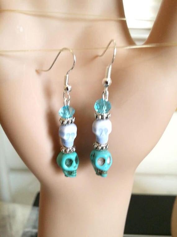 blue sugar skull earrings day of the dead  bead drop long dangles glass turquoise stone blue skeleton goth halloween handmade