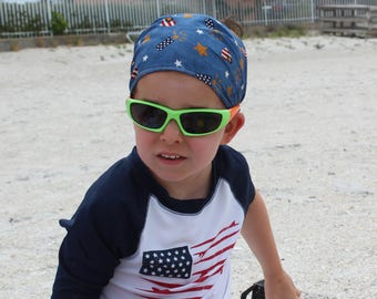 Boy bandana, child headscarf, cotton wide headband, 4th of July, patriotic, independence day, american USA flags stars, baby toddler newborn