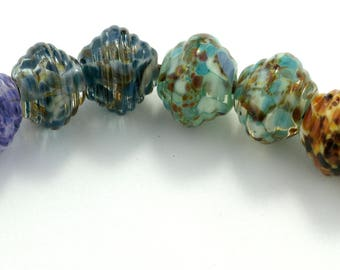 Ribbed Mixed Pairs Handmade Lampwork Glass Beads (8 Count) by Pink Beach Studios (1539)