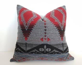 Great Grey Aztec Pillow, Grey Red Southwestern Pillow Covers, Native American  Pillow, Grey Red