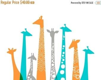 "SUMMER SALE 20X16"" giraffes landscape giclee print on fine art paper. teal turquoise blue, orange, gray."