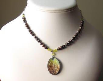 Copper Enameled Landscape Pendant on an Artisan Pearl Necklace, WillOaks Studio Art Jewelry