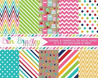 80% OFF SALE School Supplies Digital Paper Pack Collection Colorful Chevron Stripes and Polka Dots Teachers Digital Patterned Paper Set