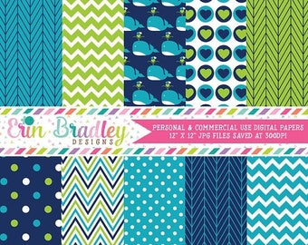 80% OFF SALE Blue Whales Digital Paper Pack Instant Download Boys Blue and Green Digital Paper Set Chevron Polka Dots Hearts & Herringbone