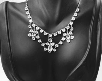 Art Deco Necklace, Open Back Crystal, White Gold, Wedding Bridal Jewelry, 1920's Jewelry, Heirloom Jewelry, Great Gatsby Jewelry