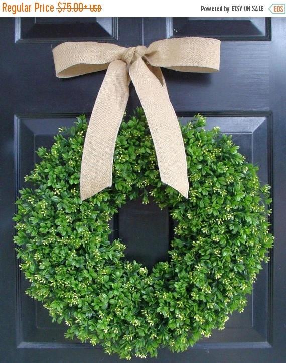 SUMMER WREATH SALE Faux Boxwood Wreath- Artificial Boxwood Wreaths for Door- Year Round Wreath Burlap Bow- Wedding Decor Boxwood Door