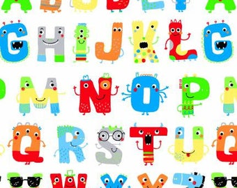 Children's Flannel, Zoo Mates Alphabet Cotton Flannel by Henry Glass 43-45 inches wide