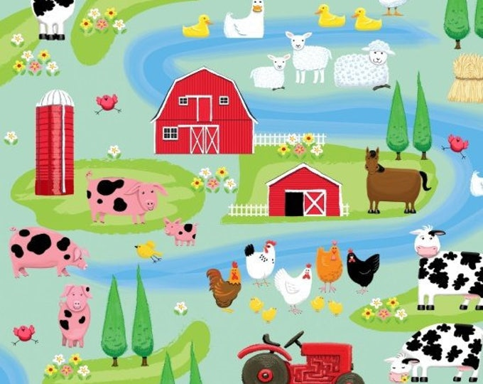 FARM LIFE SCHENIC, Children's Cotton Fabric by Kate Mawdsley for Henry Glass 44 inches wide