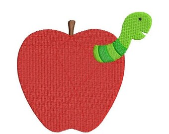 SALE 65% OFF Worm in Apple School Fall Teacher Embroidery Designs - 4x4 and 5x7 - Instant Download Sale