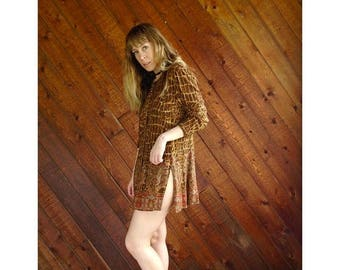 15% Memorial Day Wknd ... Giraffe Print l/s Mini Boho Tunic Dress - Vintage 90s - S Petite