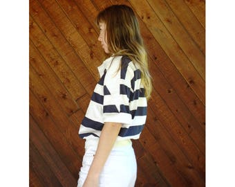 Nautical Wide Stripe s/s Navy Sailing Top - Vintage 90s - S/M