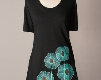 SUMMER SALE tshirt dress, black dress, black cotton dress, summer dress, turquoise screenprint