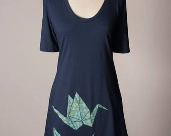 SUMMER SALE paper crane dress, origami t-shirt dress, origami paper crane tunic, origami dress