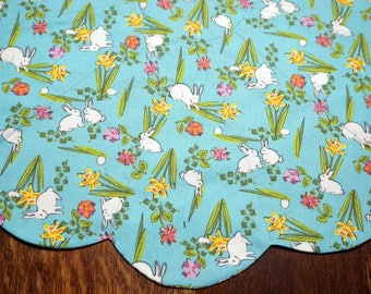 Easter Reverses to  Aqua and Brown Table Topper Spring and Summer