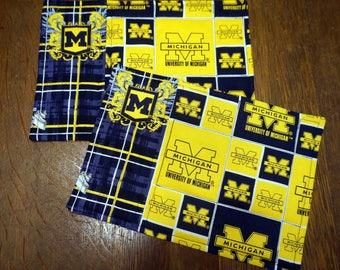 Two University of Michigan Snack Mats or Mug Rugs for the Wolverine Fan