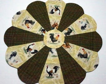 Roosters Table Topper Reverses to Christmas Rocking Horses and Packages