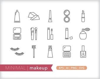 Minimal makeup line icons | EPS AI PNG | Beauty Clipart Design Elements Digital Download