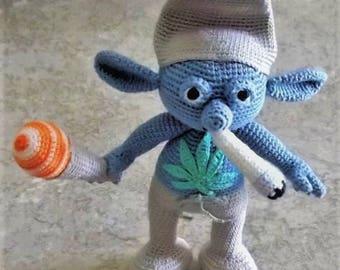 "Bonnie's OOAK Crochet Cotton Thread Item 3.5""  DewBie - Doll, Cannabis Leaf & Joint plus Sherbet ice cream Cone  @cyicrochet Not A Toy"