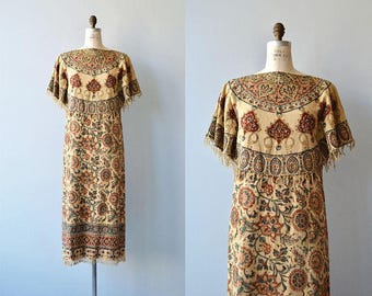Shahbanu block print dress | vintage 1970s indian cotton dress | 70s block print caftan dress