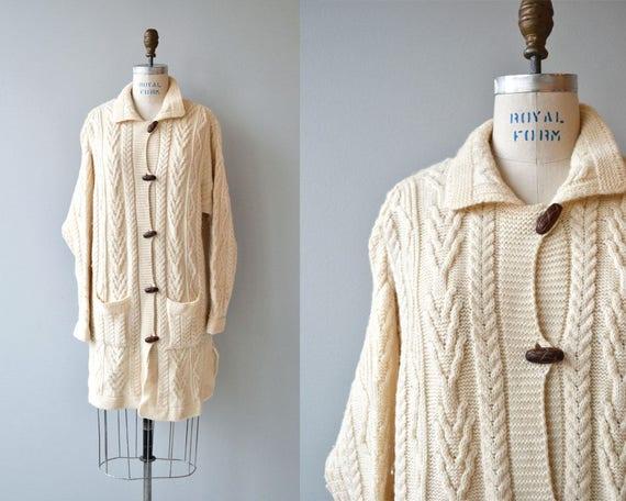 Ronin wool cardigan vintage Irish wool sweater cream wool