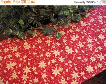 ON SALE Christmas Table Runner Cream Poinsettia on Red Gold Metallics Padded