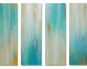 """Original Acrylic Artwork Modern Contemporary Abstract Teal Painting Wall Decor 48"""" x 36"""" in total. By Robyn Joy"""
