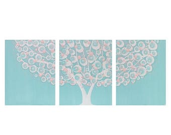 ON SALE Large Nursery Wall Art Painting for Girl - Pink and Aqua Tree Triptych Canvas - Large 50x20