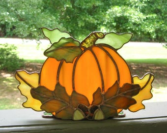 Autumn Harvest Stained Glass Tea Light Holder no. 5 Stained Glass Pumpkin Fall Candle Holder Halloween Candle Holder Pumpkin Tealight Holder