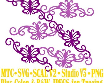 Butterfly 1 Flourish Set #07 Spring Cut Files MTC SVG SCAL and more Digital File Formats